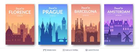 European famous city scapes set. Vettoriali