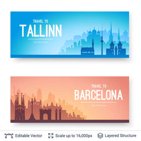 Tallinn and Barcelona famous city scapes.