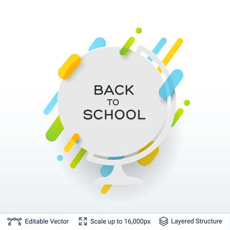Back to school badge sticker with bright stripes.