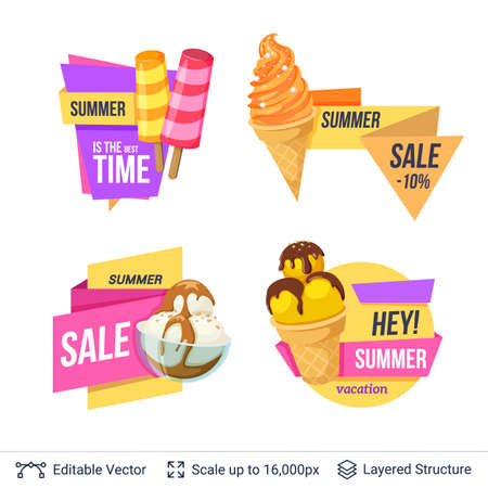 Ice cream dessert and ad text. Easy to edit and recolor vector label.