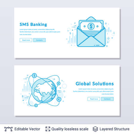 Modern styled banners for business topic. Easy to edit vector icons and place for your text.