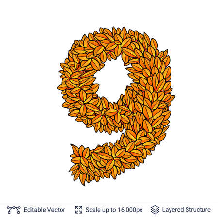 Fall bright orange leaves element. Eps 10 vector illustration.