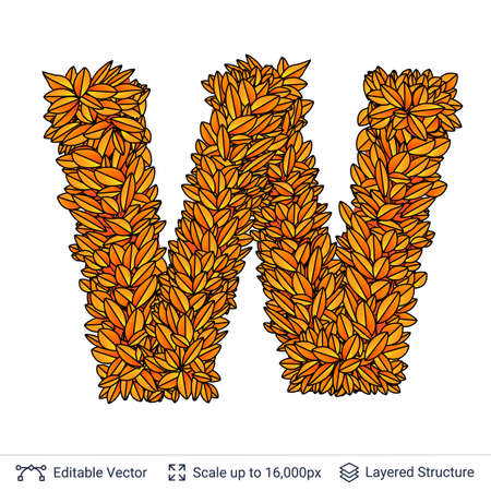 Letter W sign of autumn leaves.