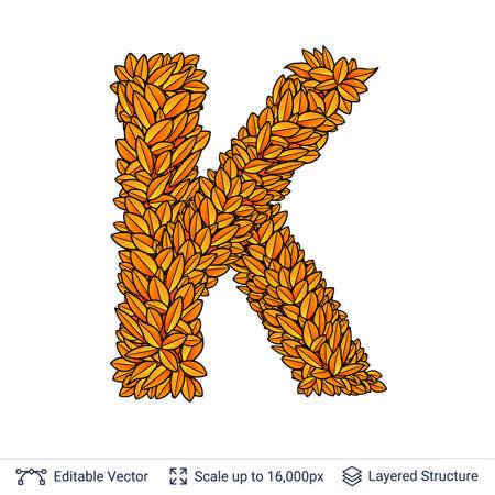 Letter K sign of autumn leaves. Stock Photo