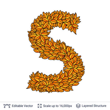 Letter S sign of autumn leaves. Stock Photo