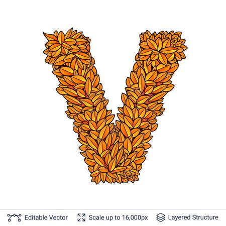 Letter V sign of autumn leaves. Stock Photo