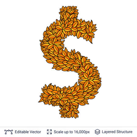 Dollar currency sign of autumn leaves.