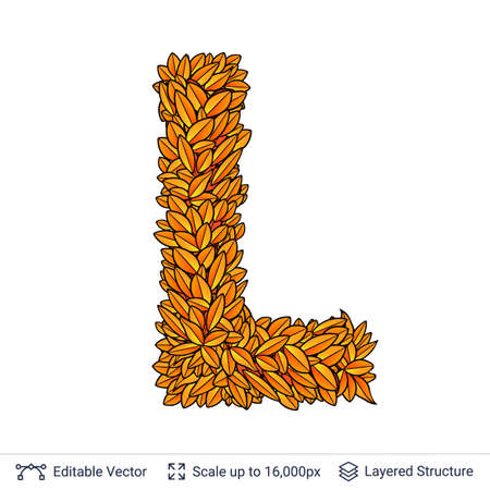 Letter L sign of autumn leaves. Stock Photo
