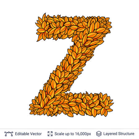 Letter Z sign of autumn leaves.