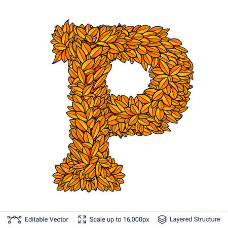 Letter P sign of autumn leaves. Stock Photo