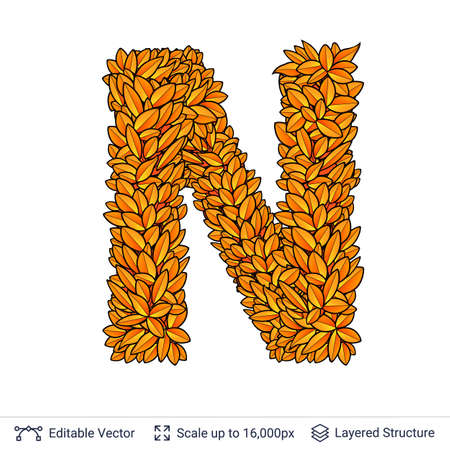 Letter N sign of autumn leaves.