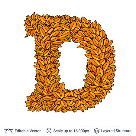 Letter D sign of autumn leaves. Stock Photo