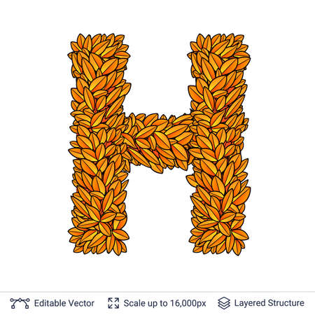 Letter H sign of autumn leaves. Stock Photo