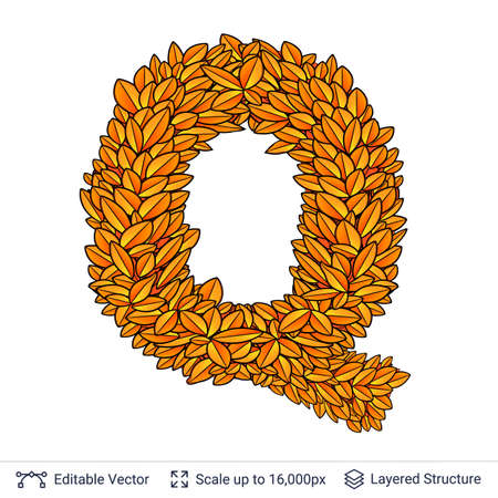 Letter Q sign of autumn leaves.