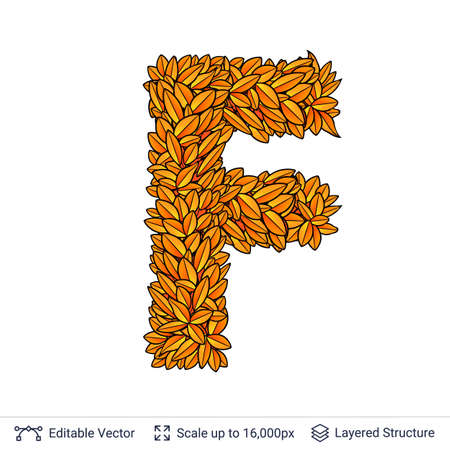Letter F sign of autumn leaves. Stock Photo