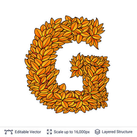 Letter G sign of autumn leaves.