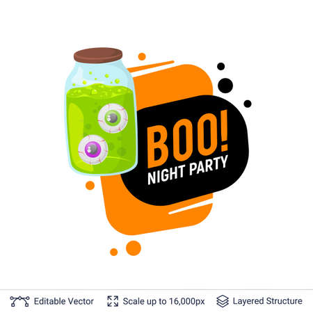 Scary eyes in jar and Halloween text.