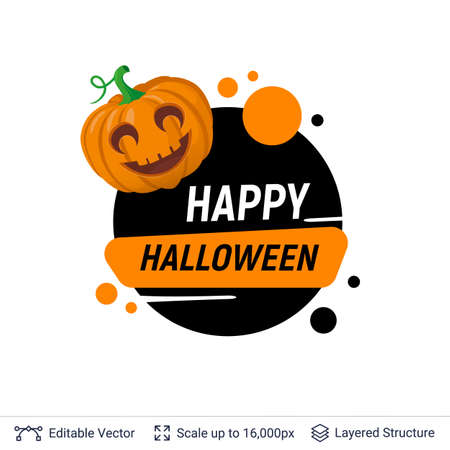 Carved pumpkin Jack lantern and Halloween text. Ilustração
