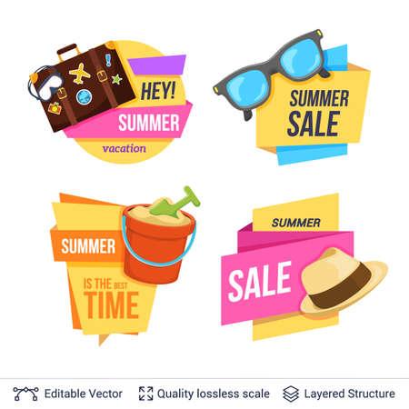 Set of summer badges isolated on white.