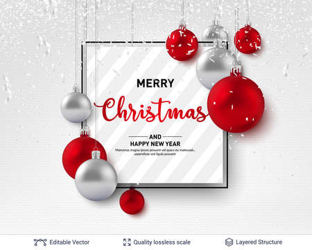 3D glossy fir tree decorative toys. New Year holiday banner template.