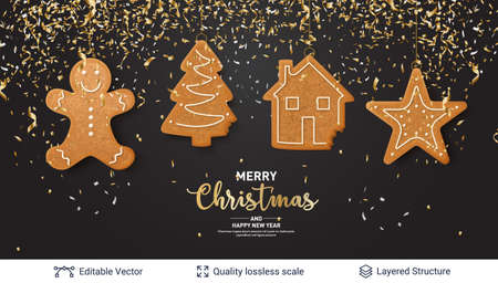 Traditional Christmas decorative treat. New Year holiday background template.