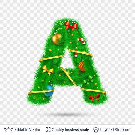 Weihnachten und Neujahr Urlaub Alphabet Symbol. Vektorschriftelement.