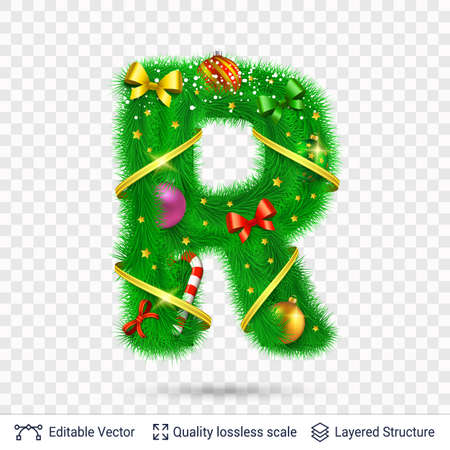 Christmas and New Year holiday alphabet symbol. Vector font element.