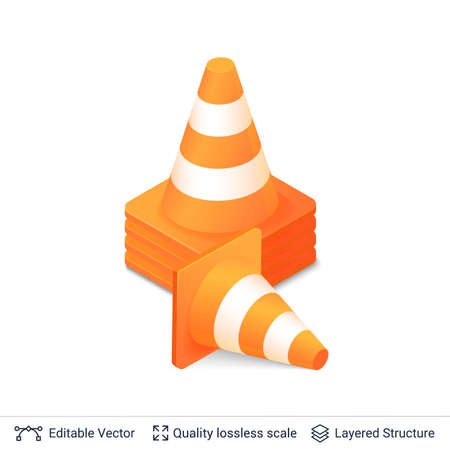 Traffic cone icon with orange and white stripes. Vector illustration. Illustration