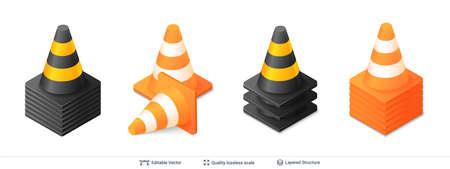 Traffic cone icon with bright stripes. Vector illustration.