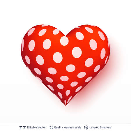 3D heart with pattern of white dots.