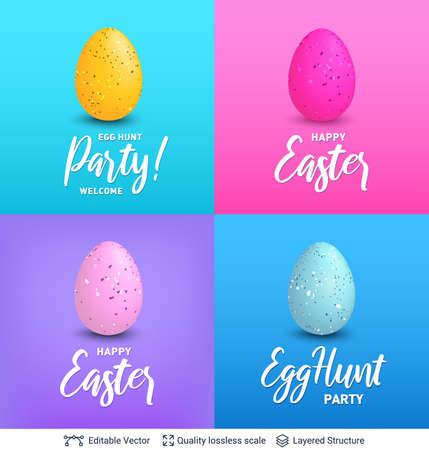 Easter backgrounds set. Bright vector templates.