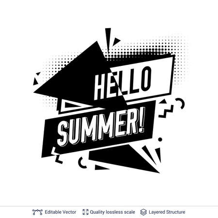 Black and white text and shapes for your summer specials. Vector template.