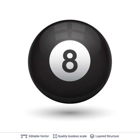 Billiard snooker pool ball with number.