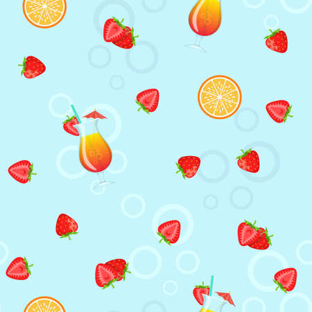 Seamless pattern of cocktails and fruits.