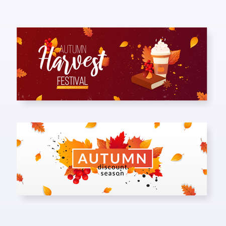 Set of Autumn Fall Season Sale Ad Banners.