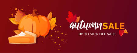 Autumn Fall Season Sale Ad Banner.