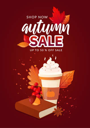 Autumn Fall Season Sale Ad Poster. Иллюстрация