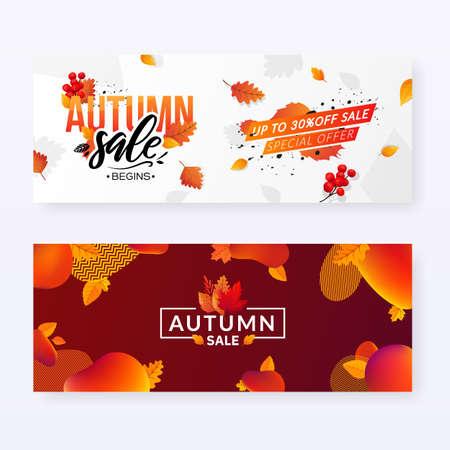 Autumn Fall Season Sale Ad Banners. Иллюстрация