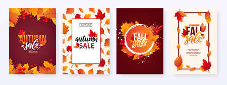 Set of Autumn Fall Season Sale Ad Posters.