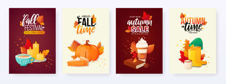 Set of Autumn Fall Season Sale Ad Posters. Stock fotó - 130102571