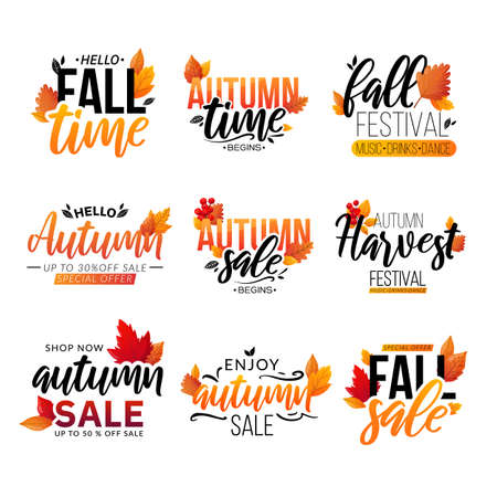 Set of fall text compositions isolated on white. Illusztráció