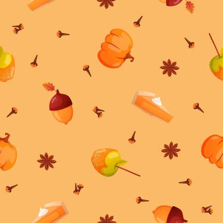 Autumn season seamless pattern. Ilustracje wektorowe