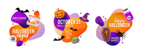 Set of Halloween party labels isolated on white.