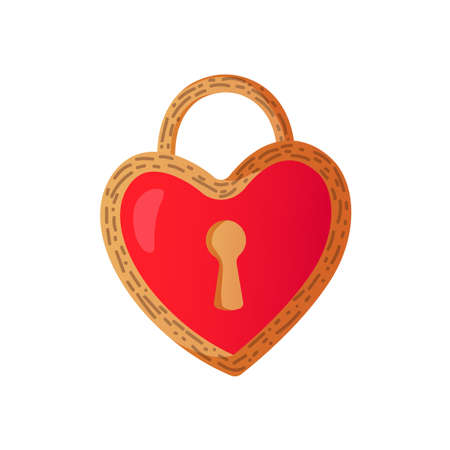 Saint Valentines Day Heart Shaped Lock. Stock Illustratie