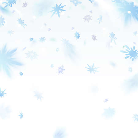 Snowflakes falling flying on light background.