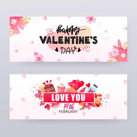 Ensemble de bannières de Saint Valentin avec texte.