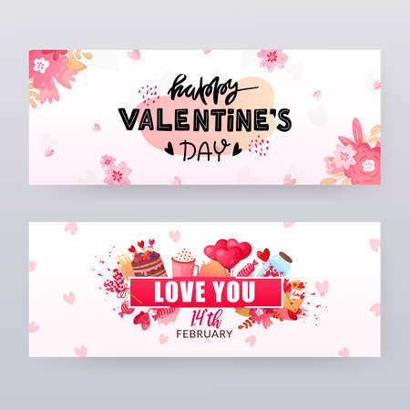 Set of Saint Valentines Day banners with text.