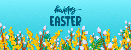 Fluffy willow and mimosa Easter holiday background Vector Illustration