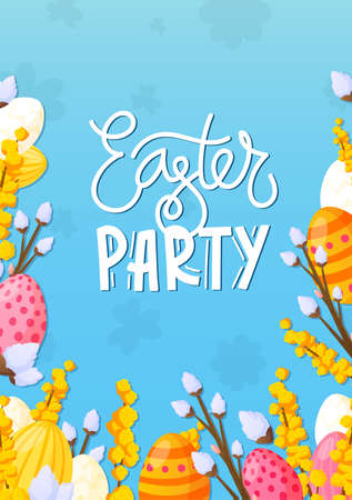 Easter painted eggs and holiday text background.