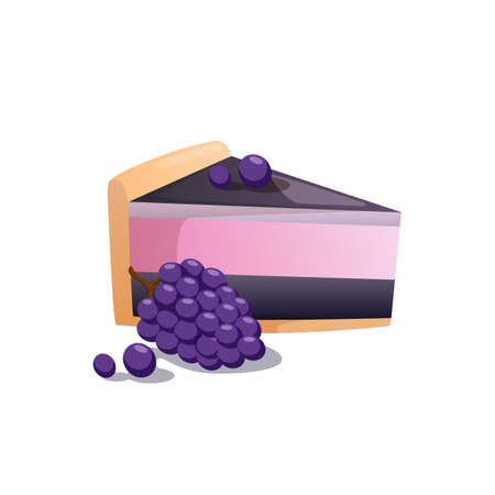 Piece of cake and berries isolated on white. Illustration